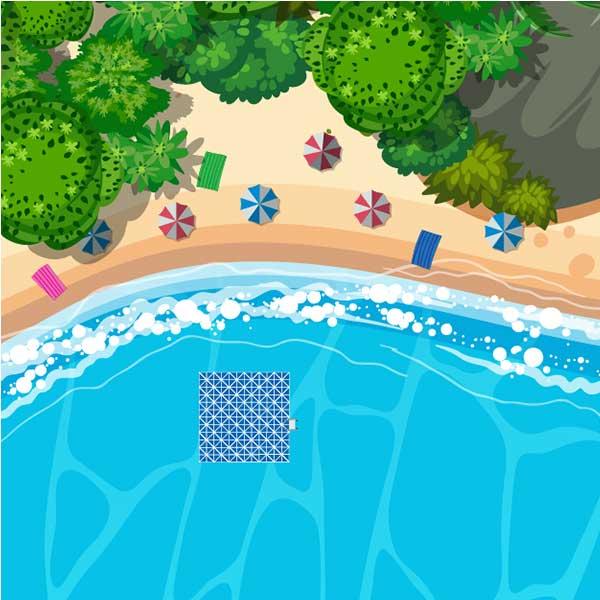 Floating pontoon as a bath / swimming platform